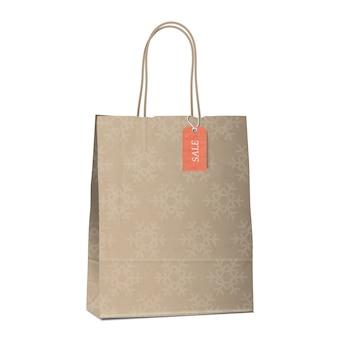 Зимняя распродажа хозяйственная сумка со снежинками.