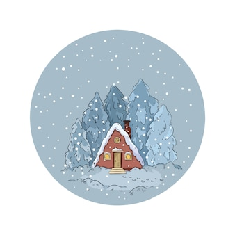 雪の地球儀の冬の風景の家と松の木