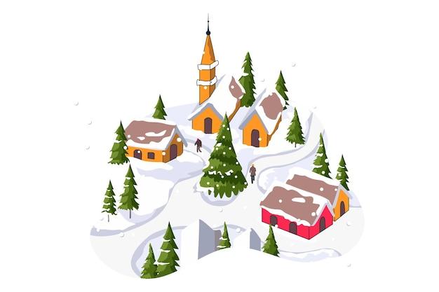 Зимняя сцена с рождеством плоских векторов