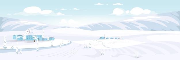 冬景色フラットカラーベクトルイラスト。丘の上にある小さな村の2d漫画の風景。雪に覆われた建物や広大な畑。