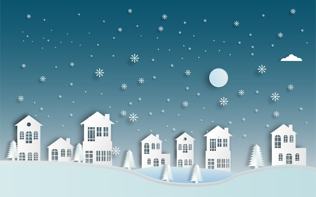 冬の風景紙カット