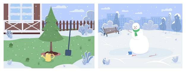 Winter scenery semi flat illustration set. house backyard with pine tree cultivation. snowman in urban park. family recreation. cold season 2d cartoon landscape for commercial use collection