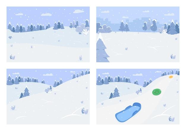 Зимний пейзаж полу плоский набор. снегопад на горном холме. место для праздничного отдыха и семейного отдыха. сезонный 2d мультяшный пейзаж для коммерческого использования.