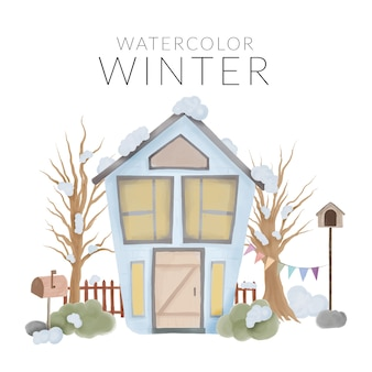家と木の水彩画手描きスタイルの冬の風景