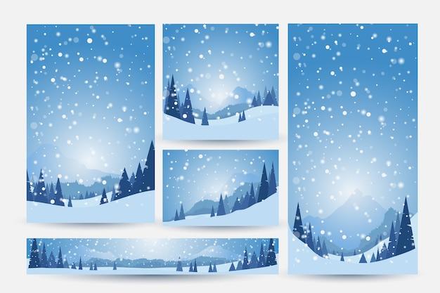 雪、松、山のある冬の風景。冬の背景のセット