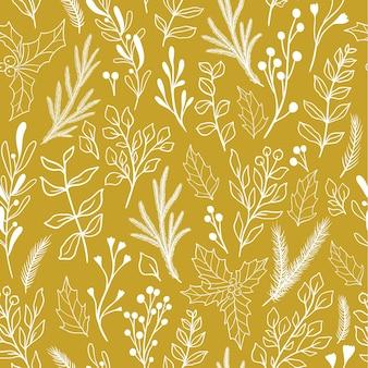 クリスマスの植物やベリー、ヤドリギ、ユーカリ、ポインセチア、ヒイラギと冬のシームレスな植物パターン。ヴィンテージ落書き生地パターン、新年の包装紙。素朴なスタイルのベクトル図です。