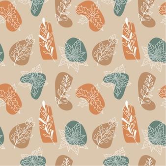 クリスマスの植物やベリー、ヤドリギ、ポインセチア、ヒイラギと冬のシームレスな植物パターン。モダンな落書き生地のパターン、新年の包装紙。現代的なスタイルのベクトルイラスト。