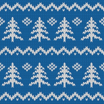 Winter seamless knitted blue pattern with christmas tree