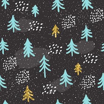 Зимний бесшовный фон фон. ручной обращается синий, золотая ель, изолированные на темноте для открытки, приглашения, альбома, альбома для эскизов, альбома для вырезок, праздничной упаковочной бумаги, текстильной ткани, одежды и т. д. золотая текстура