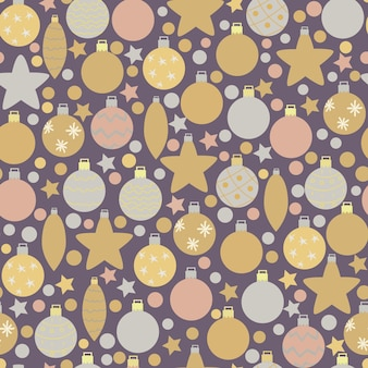 Winter seamless pattern of gold and silver christmas tree decorations