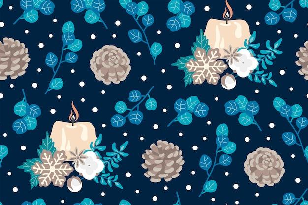 冬のシームレスなパターン。休日。クリスマスのコンセプト。