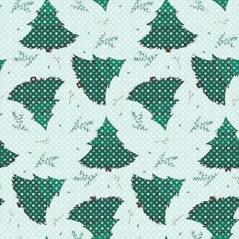 밝은 배경에 점선 하얀 눈이 있는 녹색 전나무, 나뭇가지, 나뭇가지의 겨울 원활한 패턴