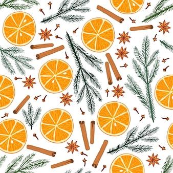 겨울 원활한 패턴 오렌지 과일 슬라이스 계피 아니스 스타 정향 전나무 가지