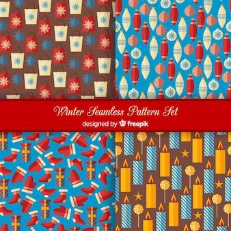 Winter seamless pattern set