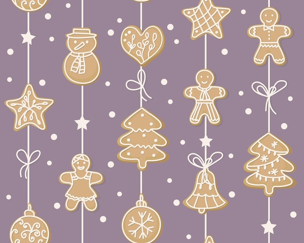 Winter seamless pattern. sweet cookies in the form of a man, christmas tree, snowman, heart, stars hanging on a garland. home decoration for the holiday. symbols of the new year. for packaging paper