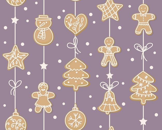 Зимний бесшовный образец. сладкое печенье в виде человечка, елки, снеговика, сердечка, звездочек, висящих на гирлянде. украшение дома к празднику. символы нового года. для упаковочной бумаги