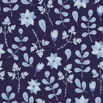 Зимний фон с синими растениями и цветами.