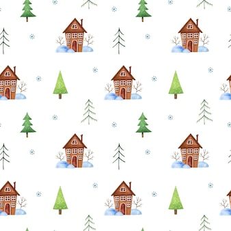 Winter seamless pattern with christmas trees cute brown houses snowdrifts and snowflakes