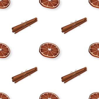 Winter seamless pattern with cinnamon and dry oranges
