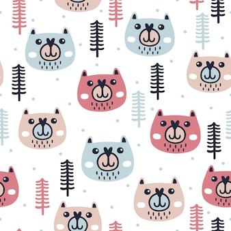 かわいいクマと冬のシームレスなパターン