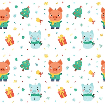 귀여운 돼지와 겨울 휴가 요소와 겨울 완벽 한 패턴입니다. 만화 그림. 손으로 그린 스타일.