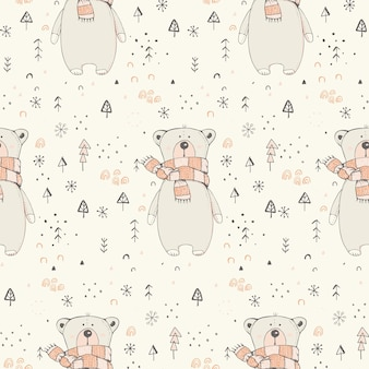 Winter seamless pattern with cute teddy bear hand drawn vector illustration woodland pattern