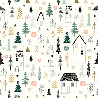 Winter seamless pattern with decorative, seasonel design