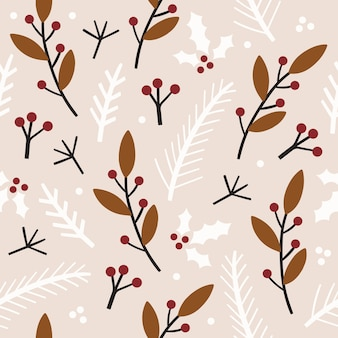Winter seamless pattern with florals.