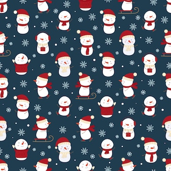 Winter seamless pattern with funny snowmen