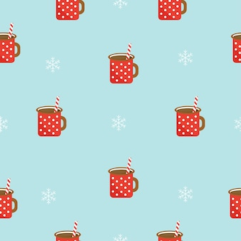 Winter seamless pattern with hot chocolate and snowflakes vector graphics