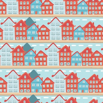 Winter seamless pattern with houses