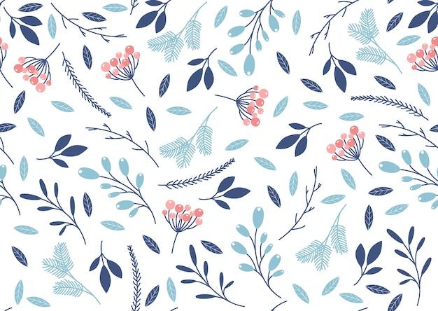 나뭇잎과 나뭇 가지와 겨울 완벽 한 패턴입니다.