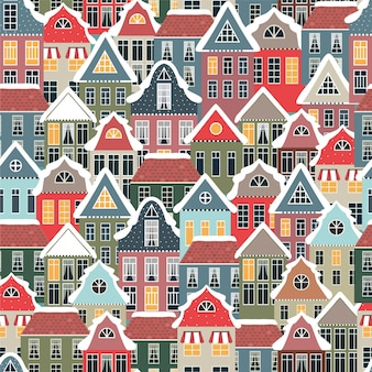 Winter seamless pattern with old houses.