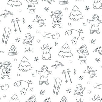 Зимний фон с играющими детьми. дети, снеговик, катание на санках, катание на лыжах в стиле каракули. ручной обращается зимние объекты. векторная иллюстрация на белом фоне
