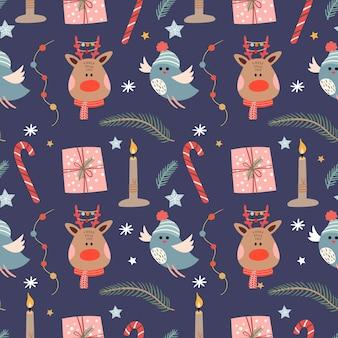 순 록과 새와 겨울 원활한 패턴