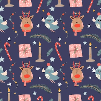 Winter seamless pattern with reindeer and birds