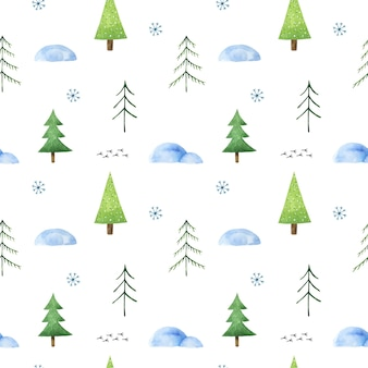 Winter seamless pattern with stylized christmas trees, snowdrifts, snowflakes and cute bird tracks