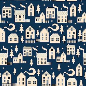 Зимний фон с деревьями, коттеджи и дома