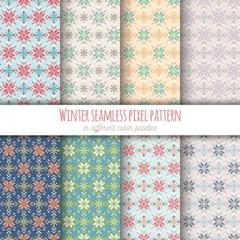Winter seamless pixel pattern in 8 different color palettes
