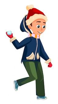 冬の季節のアクティビティ。漫画の少年は雪玉を投げる