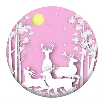 Winter season background with paper art design vector