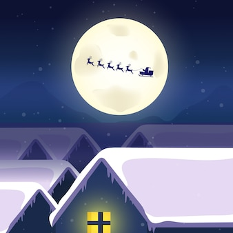 Winter season begins. village with christmas tree christmas santa claus flying in the sky.