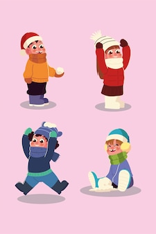 Winter season boys and girls with warm clothes and snowball cartoon
