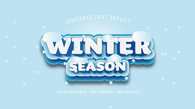 Редактируемый текстовый эффект зимнего сезона с падающим снегом