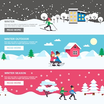Winter season flat banners set