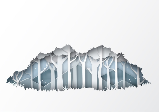 Winter season forest silhouette background paper art style.