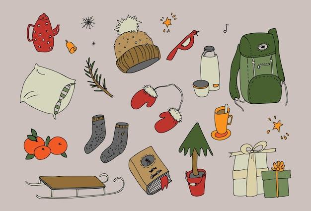 Зимний сезон рисованной иконки, векторные иллюстрации, уютные рождественские праздники, декабрь изолированные набор