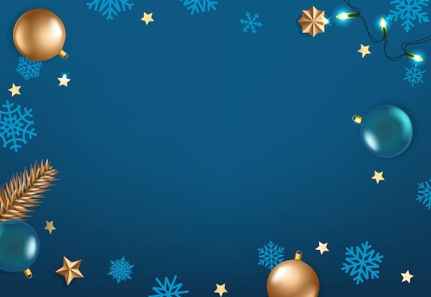 Winter season holidays blue background