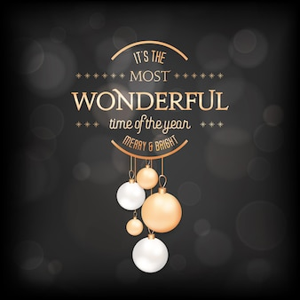 Winter season holidays elegant greeting card with xmas balls. festive decoration in black and gold colors with golden typography. merry christmas, new year holiday postcard. vector illustration