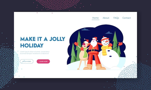 Winter season holidays website landing page.